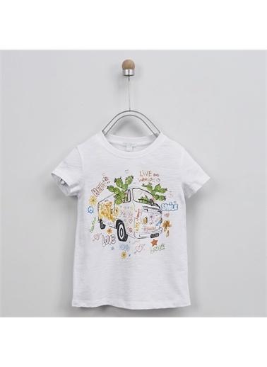 Panço Kız Çocuk T-Shirt 2011GK05019 Beyaz